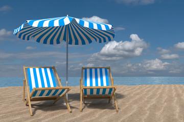 Entspannen am Meer. Zwei Liegestuehle unter einem Sonnenschirm am Strand. Im Hintergrund das Meer. Erstellt in 3D