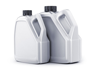 Two white canister