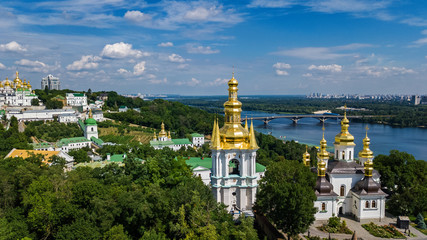 Printed roller blinds Kiev Aerial top view of Kiev Pechersk Lavra churches on hills from above, cityscape of Kyiv city, Ukraine
