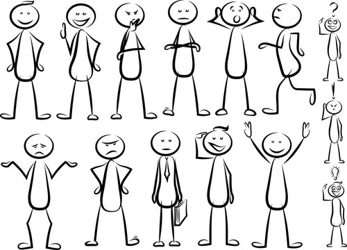stickman - various positions vector set