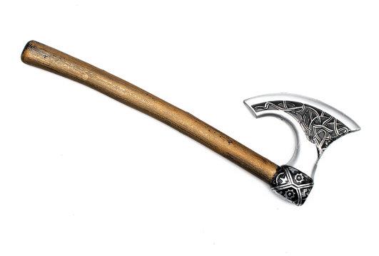 Toy battle axe isolated.