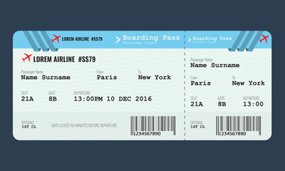 Vector Airplane ticket design template.