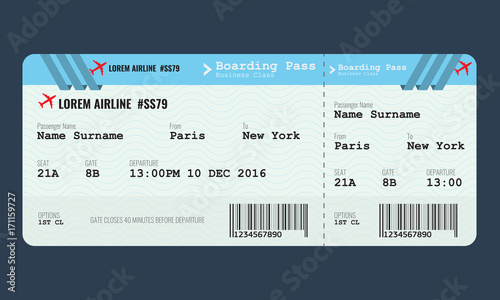 "Vector Airplane ticket design template."" Stock image and royalty ..."