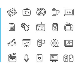 Multimedia Icon Set // Blue Line Series