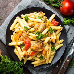 Pasta with meat and vegetables.