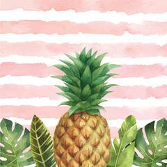 Watercolor vector banner tropical leaves and pineapple isolated on the background of stripes.