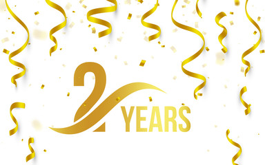 Isolated golden color number 2 with word years icon on white background with falling gold confetti and ribbons, second birthday anniversary greeting logo, card element, vector illustration