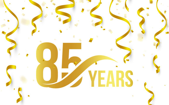 Isolated golden color number 85 with word years icon on white background with falling gold confetti and ribbons, 85th birthday anniversary greeting logo, card element, vector illustration