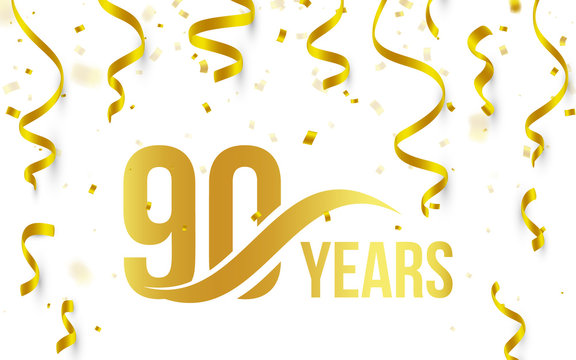 Isolated golden color number 90 with word years icon on white background with falling gold confetti and ribbons, 90th birthday anniversary greeting logo, card element, vector illustration