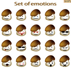 Set of emoticon. Mood, emoji. Icons cartoon mushrooms with different emotions. Smiley icons for web design. Icons from fungi with different characteristic facial expressions. Vector illustration.