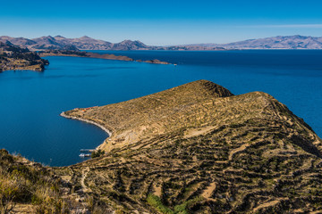 Isle de Sol on Lake Titicaca in Bolivia