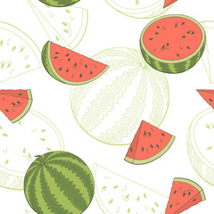 Watermelon graphic color seamless pattern sketch illustration vector