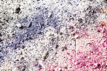 Colorful wallpaper with crushed eye fashion makeup on white wood