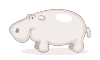 Cute Hippo. Line Art Vector Illustration Of A Cute Hippopotamus.