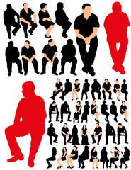 isolated, set of silhouettes people sitting, collection