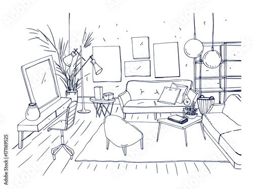 Monochrome Drawing Of Interior Of Living Room With Sofa Chairs