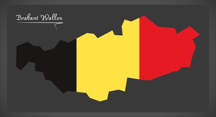 Brabant Wallon map of Belgium with Belgian national flag illustration