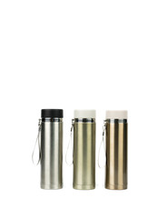 Three silver thermos bottle on white background with copy space