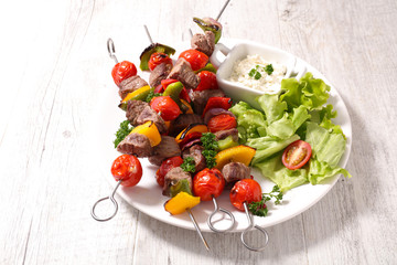 grilled beef and salad