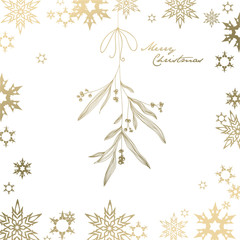 Handwritten Christmas illustration with hanging mistletoe - golden version
