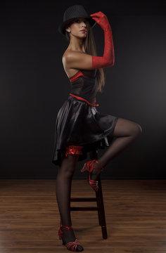 Dancer of cabaret in studio