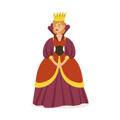 Majestic queen in purple dress and gold crown, fairytale or European medieval character colorful vector Illustration