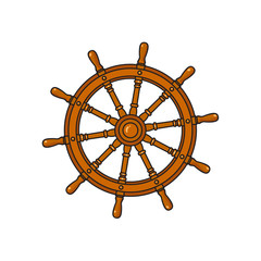Ship, sailboat steering wheel, cartoon vector illustration isolated on white background. Cartoon vector illustration of traditional wooden ship, sailboat steering wheel