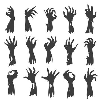 Undead zombie hand silhouettes isolated on white background. Dead hands fear scary halloween black creepy vector silhouette set