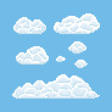 Clouds shapes set. Pixel art 8 bit texture illustration