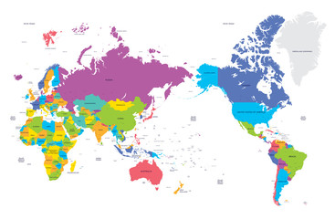 Colorful political map of the world with large cities, high detail vector illustration