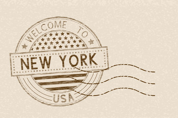 Welcome to New York, USA. Tourist brown stamp with US national flag on beige background