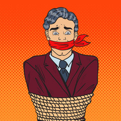 Pop Art Stressed Businessman Tied Up with Rope. Business Problems. Vector illustration