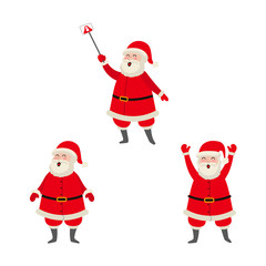 vector flat cartoon Santa Claus standing in red white clothing and hat, another one making selfie by stick set. Illustration isolated on a white background. Christmas ,new year poster design