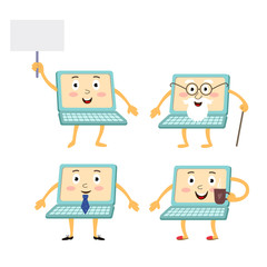 vector flat cartoon funny laptop humanized male, female characters set. Cheerful old and young man, woman notebooks with different emotions. Isolated illustration on a white background.