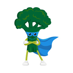 vector flat cartoon broccoli character in blue cape, mask standing with hands crossed on chest. Isolated illustration on a white background. Funny fruit, vegetable super hero protecting people health