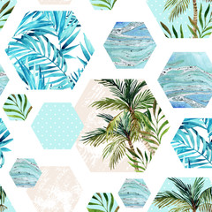 Wall Murals Graphic Prints Abstract summer geometric hexagon shapes seamless pattern