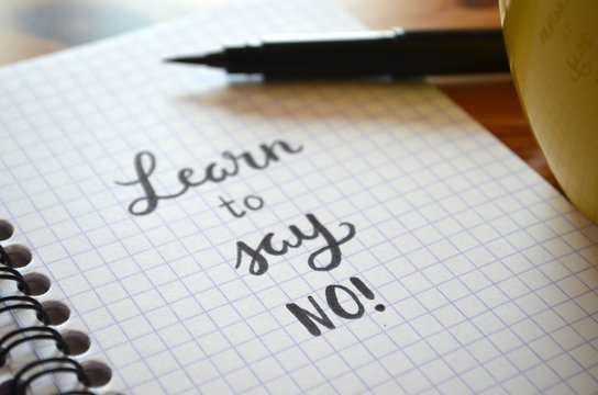 LEARN TO SAY NO hand-lettered in notebook