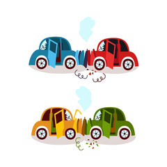 Car accident, head on, rear end collision, fender bender, side view cartoon vector illustration isolated on white background. Set of two cars broken, deformed after head on, rear end collision, crash