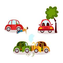 Car accident set - collision, pedestrian knockdown, broken tree, cartoon vector illustration isolated on white background. Car crash, pedestrian knockdown and collision with a tree, road accident set