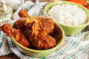 Chicken drumsticks curry with rice