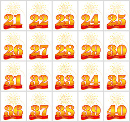 Set of gold numbers from 21 to 40 and the word of the year on the background of a red ribbon. Vector illustration. Translated from the German - Years