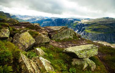 Colorful mountain scenes in Norway. Beautiful landscape of Norway, Scandinavia. Norway mountain landscape.