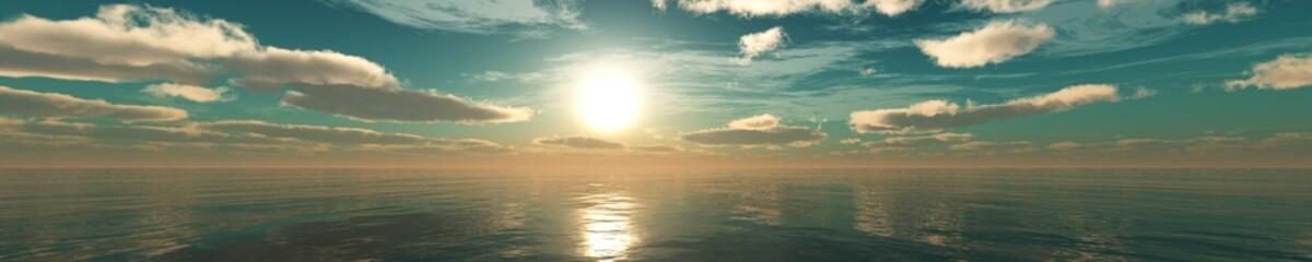 beautiful sunset over the sea, panorama of the sea sunrise