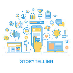 Storytelling vector. Illustration of building social media campaigns around stories, storytelling, producing ads. Storytelling concept for web banners and printed materials. Thin line design.
