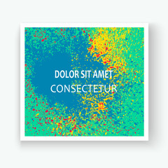 Neon colorful explosion paint splatter artistic covers design. Decorative bright texture splash spray on turquoise backgrounds. Trendy template vector Cover Report Catalog Brochure Flyer Poster Banner