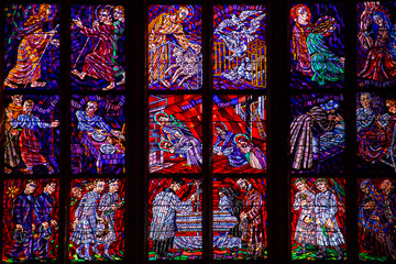 Beautiful Stained Glass Windows in european cathedral