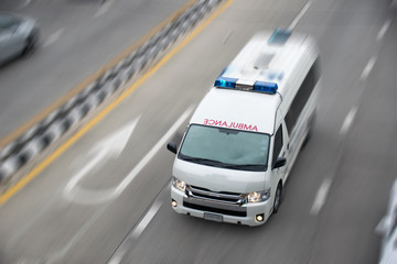 Top view Emergency vehicle motion speed on the road