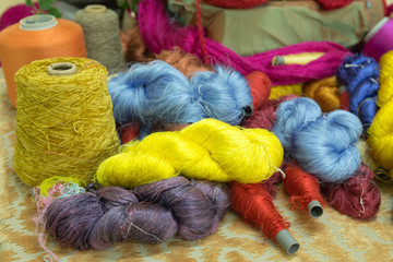 colorful of silk thread