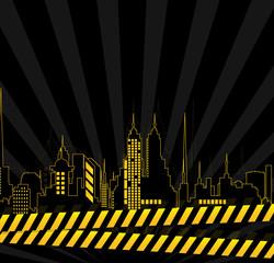 Urban Skylines Vector Background at night
