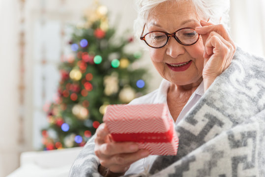 Pleasant old woman is holding present